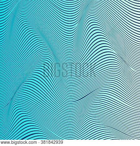Abstract Distortion Line Background. Striped Wave Backdrop. Wavy Op Art Cover. Vector Illustration.
