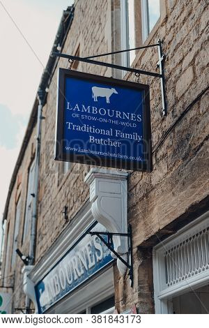 Stow-on-the-wold, Uk - July 10, 2020: Sign Outside Lambournes Butcher Shop In Stow-on-the-wold, A Ma