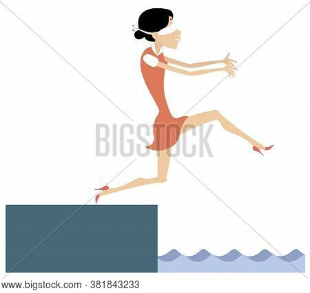 Blindfolded Woman Walking Towards The Precipice With Underneath Water Illustration. Blindfolded Youn