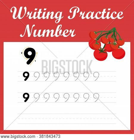 Worksheet Writing Practice Number Nine. Digital Writing Practice - 9. Mathematical Game For Children