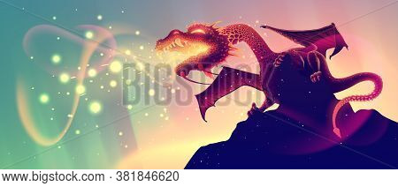 Realistic fire breathing dragon on a rock with glow flame in vector, fantasy dangerous snake or reptile on a cliffs, detailed illustration in cartoon style.