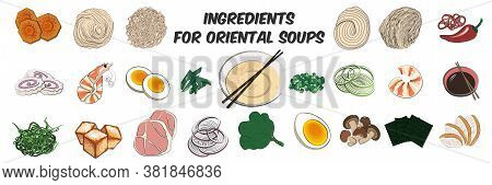 Traditional Japanese or Korean food-a large set of ingredients for traditional Oriental ramen noodle soups. Vector illustration in hand-drawn style on a white background.