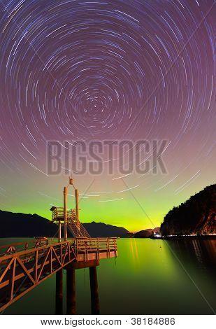 Aurora Borealis And Startrails At Porteau Cove Provincial Park