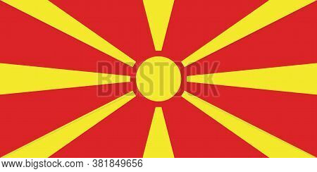 North Macedonia Flag, Official Colors And Proportion Correctly. Republic Of North Macedonia Flag.