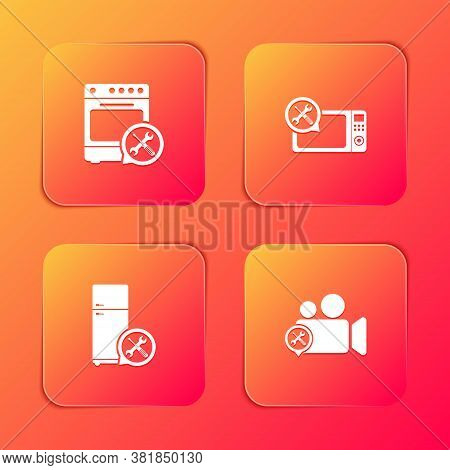 Set Oven Service, Microwave Oven, Refrigerator And Video Camera Icon. Vector