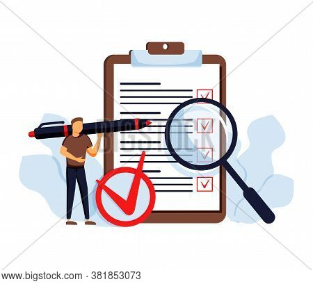 Task Done Vector Illustration. Flat Tiny Check To Do List Persons Concept. Symbolic Positive And App