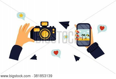 Set Of Cartoon Style Hands Holding A Photo Camera And Smartphone. Ok Sign. Hand Drawn Bright Vector