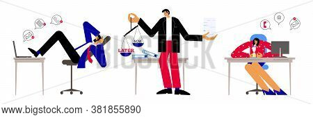 Procrastination And Delaying Working Tasks Concept. Businessman Sitting With Legs On Office Desk Pro