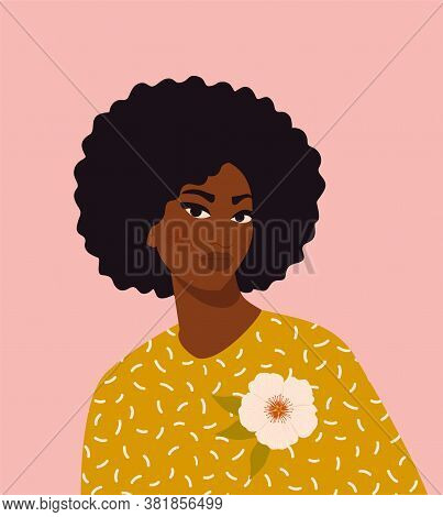 Beautiful Black Woman. Young African American. Portrait Of Young Woman With Beautiful Face And Hair.