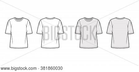 Cotton-jersey T-shirt Technical Fashion Illustration With Crew Neckline, Elbow Sleeves, Tunic Length
