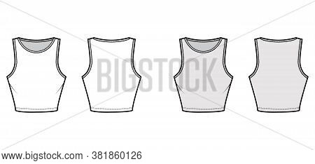 Cropped Cotton-jersey Tank Technical Fashion Illustration With Slim Fit, Waist Length, Crew Neckline