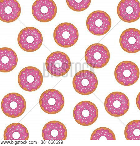 Background With Pink Glaze Donut On White Background. Cute Repeated Texture Menu. Doughnut With Icin