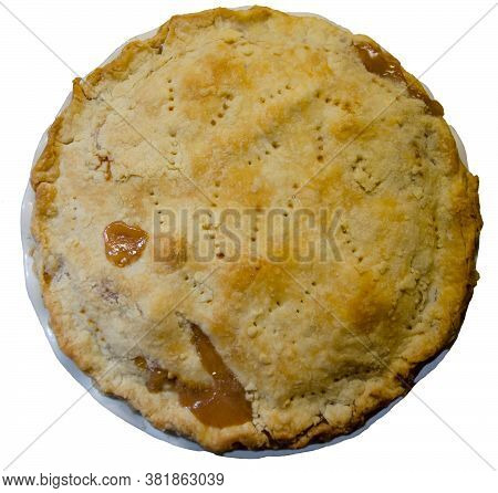 Top View Of Peach Pie.  White Background.  Freshly Baked Dessert With Flaky Pastry Crust.  Summer Or
