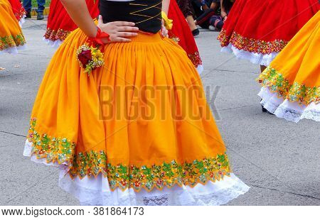 Folk Dancers Skirt Of Azuay Province With Tipical Embroidery On The Buttom