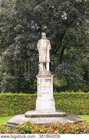 Graz, Austria. August 2020.  Moritz Ritter Von Franck Statue In Stadt Park, Creator Of Stadtpark.