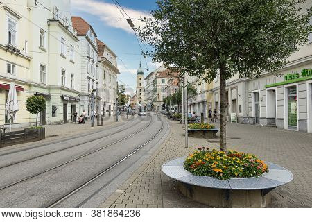 Graz, Austria. August 2020. The Tram Route In A City Center Street