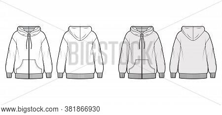 Zip-up Oversized Cotton-fleece Hoodie Technical Fashion Illustration With Pocket, Relaxed Fit, Long