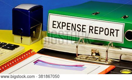Expense Report-text Label In The Registrar's Folder. Business Research Of Accounting Activity Of The