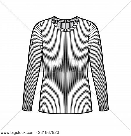 Ribbed Crew Neck Knit Sweater Technical Fashion Illustration With Long Sleeves, Oversized Body, Tuni