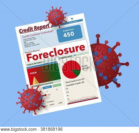 A Credit Reports With Forclosure Written In Big Letters Is Covered With Covid-19 Cells.