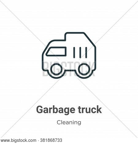 Garbage truck icon isolated on white background from cleaning collection. Garbage truck icon trendy