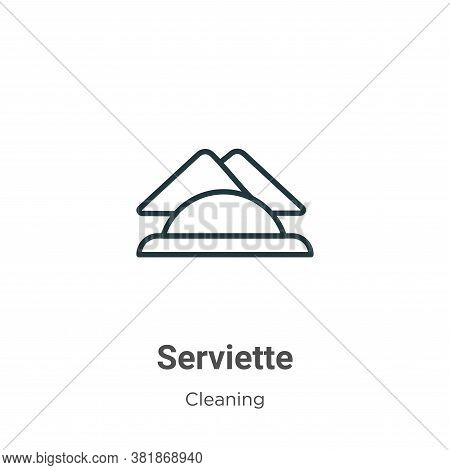 Serviette icon isolated on white background from cleaning collection. Serviette icon trendy and mode