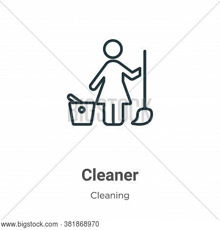 Cleaner icon isolated on white background from cleaning collection. Cleaner icon trendy and modern C