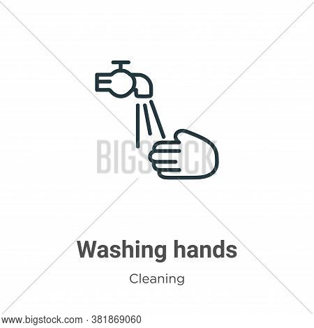 Washing hands icon isolated on white background from cleaning collection. Washing hands icon trendy
