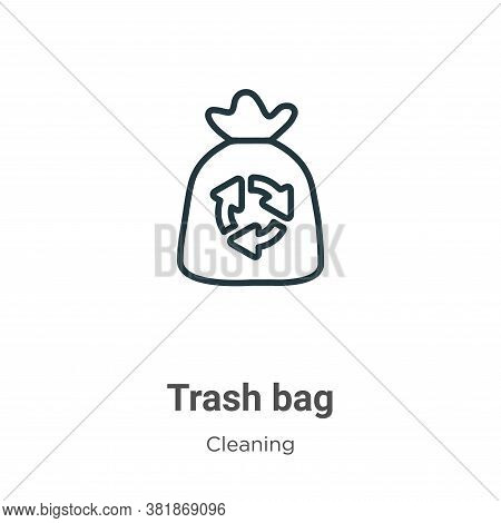 Trash bag icon isolated on white background from cleaning collection. Trash bag icon trendy and mode