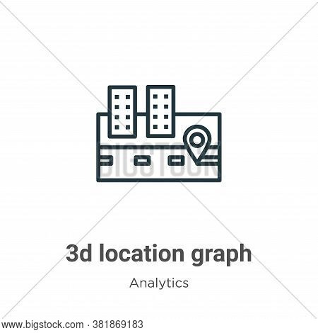 3d location graph icon isolated on white background from analytics collection. 3d location graph ico