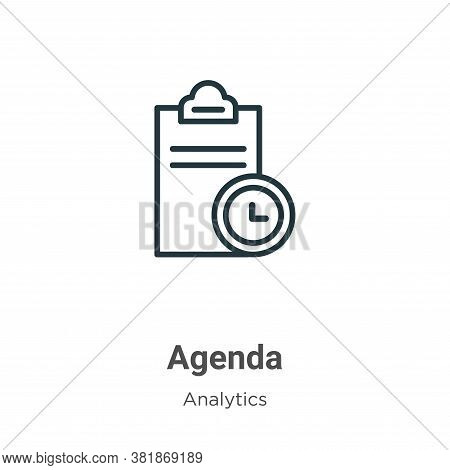 Agenda icon isolated on white background from business collection. Agenda icon trendy and modern Age