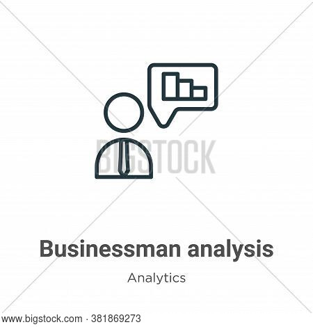 Businessman analysis icon isolated on white background from analytics collection. Businessman analys