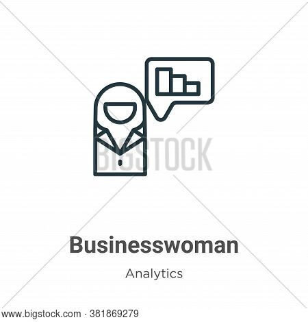 Businesswoman icon isolated on white background from business collection. Businesswoman icon trendy