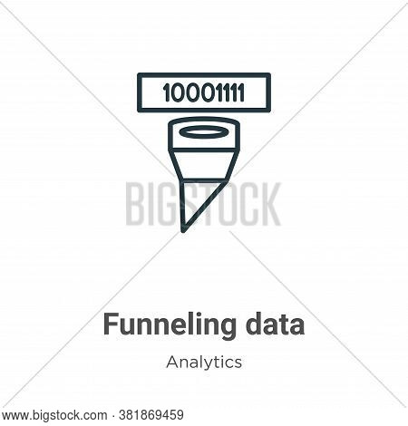 Funneling data icon isolated on white background from analytics collection. Funneling data icon tren