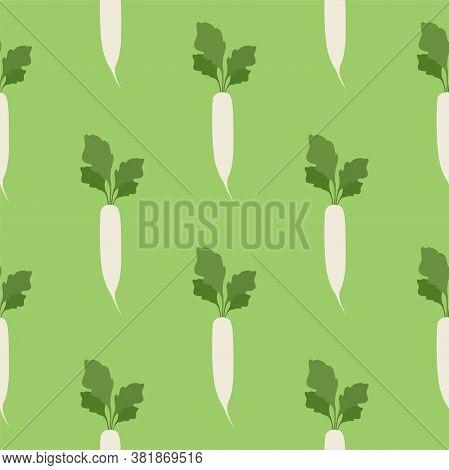 Daikon Radish. Vegetables, Healthy Food. Seamless Vector Patterns
