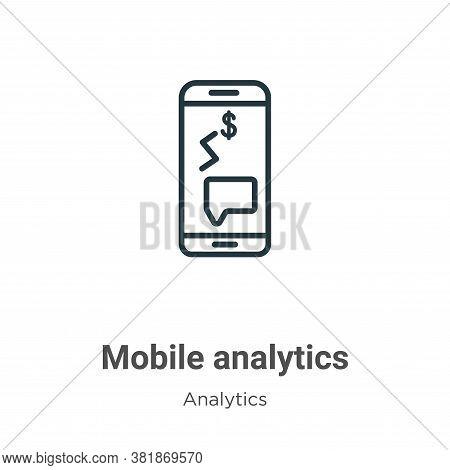 Mobile analytics icon isolated on white background from analytics collection. Mobile analytics icon