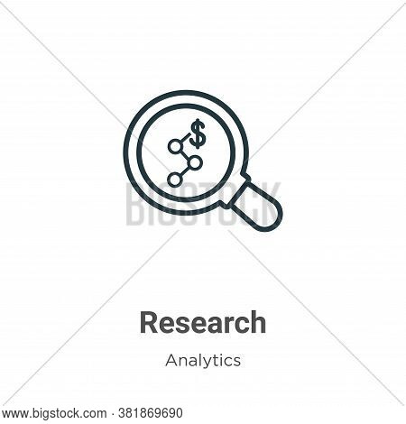 Research icon isolated on white background from analytics collection. Research icon trendy and moder