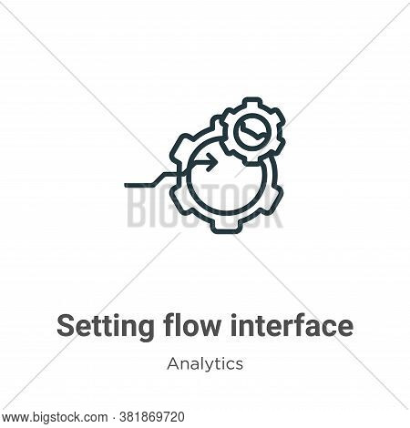 Setting flow interface symbol icon isolated on white background from analytics collection. Setting f