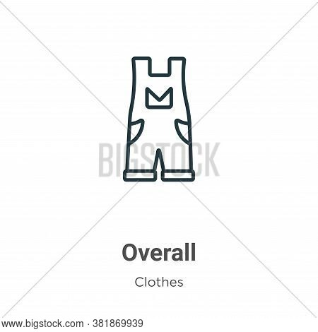 Overall icon isolated on white background from clothes collection. Overall icon trendy and modern Ov
