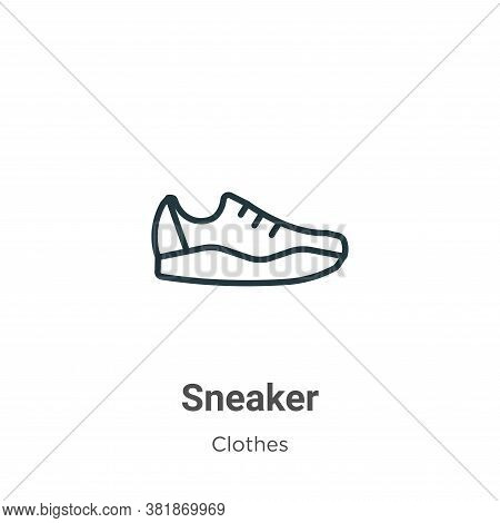 Sneaker icon isolated on white background from clothes collection. Sneaker icon trendy and modern Sn