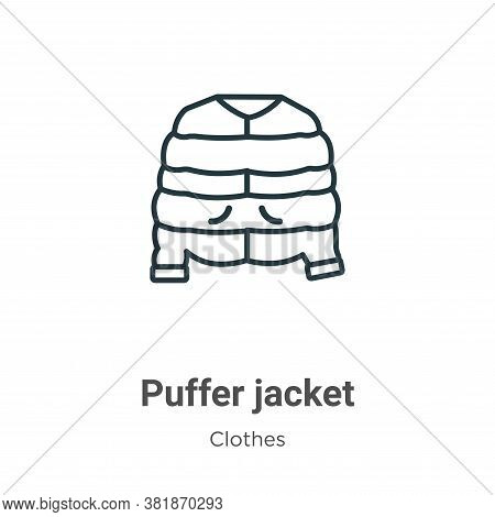 Puffer jacket icon isolated on white background from  collection. Puffer jacket icon trendy and mode