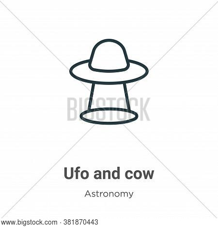 Ufo and cow icon isolated on white background from astronomy collection. Ufo and cow icon trendy and