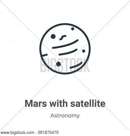 Mars with satellite icon isolated on white background from astronomy collection. Mars with satellite