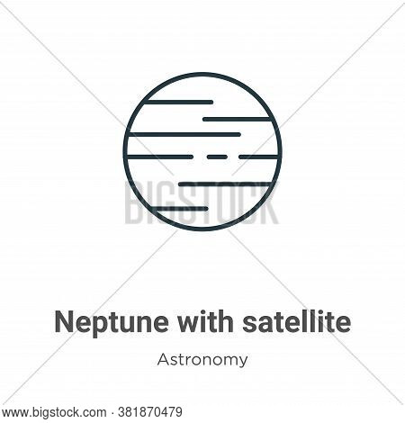 Neptune with satellite icon isolated on white background from astronomy collection. Neptune with sat