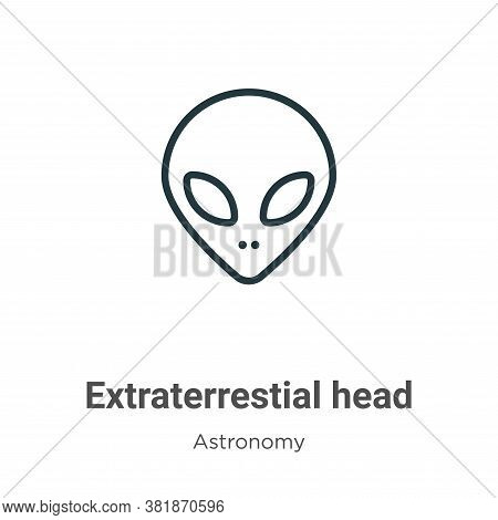 Extraterrestial head icon isolated on white background from astronomy collection. Extraterrestial he