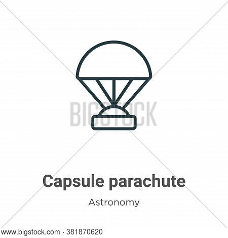 Capsule parachute icon isolated on white background from astronomy collection. Capsule parachute ico