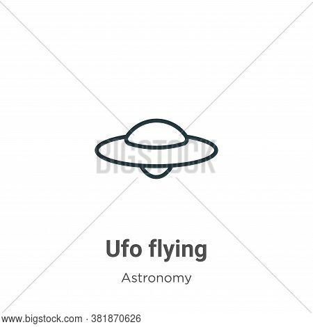 Ufo flying icon isolated on white background from astronomy collection. Ufo flying icon trendy and m