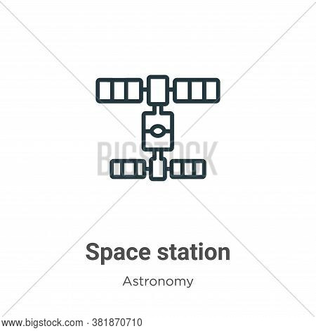 Space station icon isolated on white background from astronomy collection. Space station icon trendy