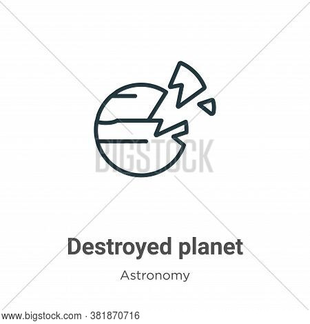 Destroyed Planet Icon From Astronomy Collection Isolated On White Background.