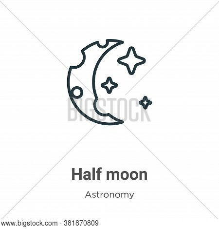 Half moon icon isolated on white background from astronomy collection. Half moon icon trendy and mod